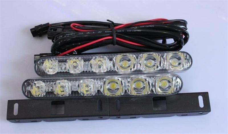 Free Shipping 2PCS 12V Car Styling Super Bright Head Lamp Car Lights 12 LED Daytime Running Lights Waterproof LED Warning Lights