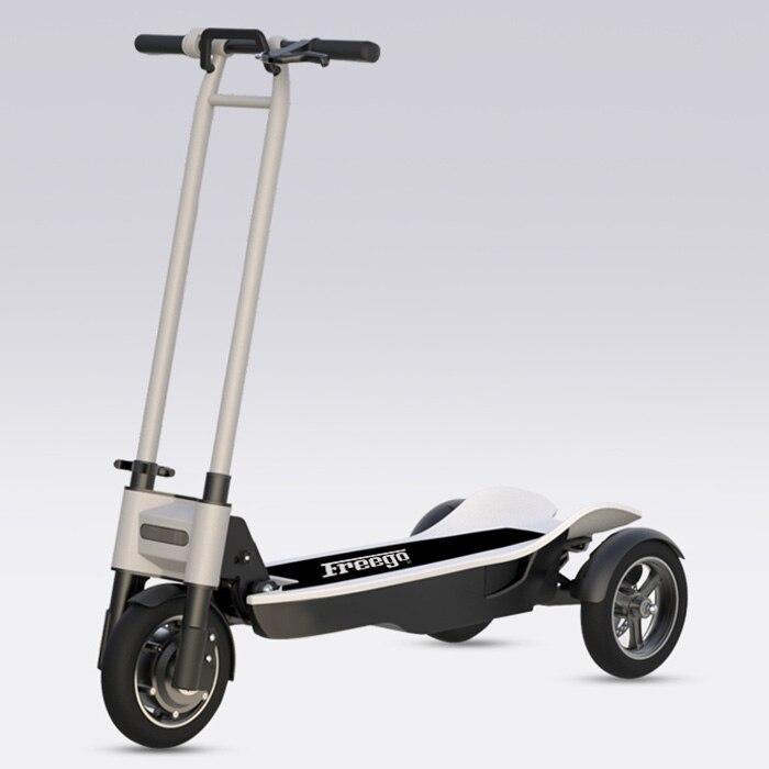 Freego ES-10 T 8.5 pouces 3 roues Scooter électrique antichoc pliant Hoverboard Skateboard 30 km 500 W moteur avec lampe frontale LED