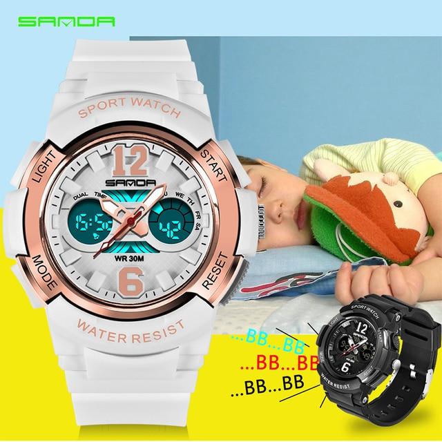 2018 SANDA Children LED Digital Wristwatch Sport Electronic Watches Waterproof S