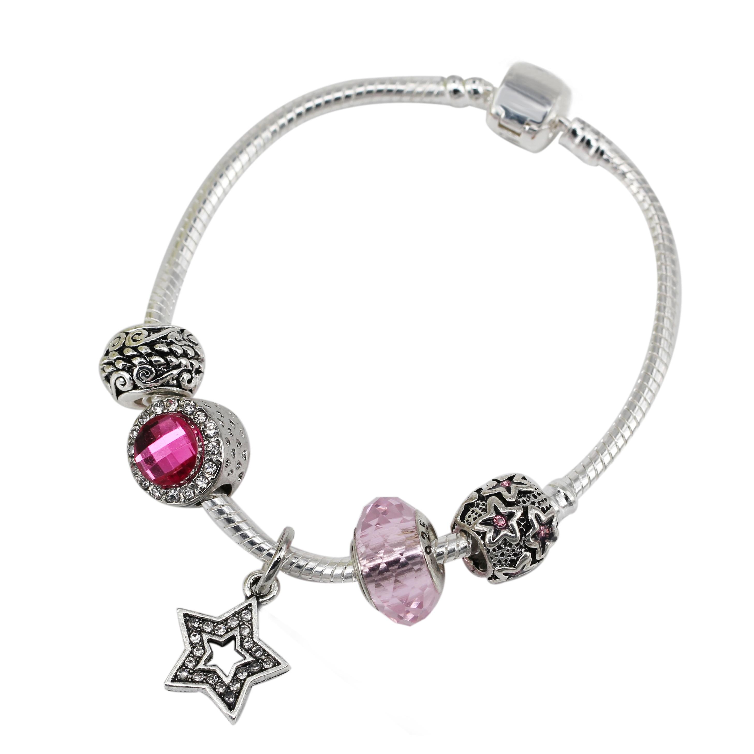 40e019b106d4 Estrella Linda colgante cristal de Murano plateado Amuletos cristal Rosa  Cuentas FIT para las pulseras de cadena brazalete DIY regalo joyería