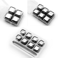 4 6 8 Pcs Magic Stainless Steel Ice Cubes Bar Whiskey Wine Beer Cooler KTV Coffee