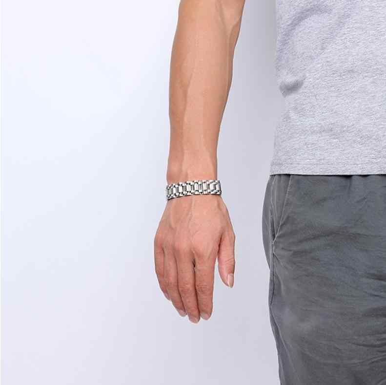 Titanium Stainless Steel Emas 17 Mm Chunky Biker Gelang Gelang Pria Tali Jam Link Rantai Gelang Fashion Perhiasan