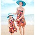 Подлинным мать дочь платья красочные Vestidos платья 2016 семья одежда пляж летом стиль платья девушки женщины одеваются детские платья пляжные платья платье для девочки платья женские мама и дочка платья платье летнее