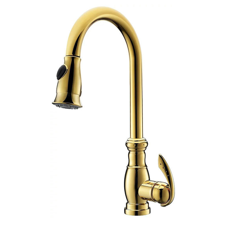 Kitchen Sink Faucets Total Brass Pull Out/Down Kitchen Sink Mixer Tap Single Handle Hot and Cold Kitchen Crane Tap Golden Faucet