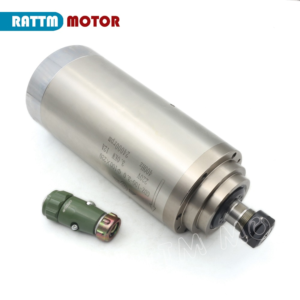 【Free VAT】 CNC 3KW Water-Cooled Spindle Motor ER20 & 3kw Inverter VFD 220V & 100mm clamp & Water pump & pipes & 1set ER20 collet