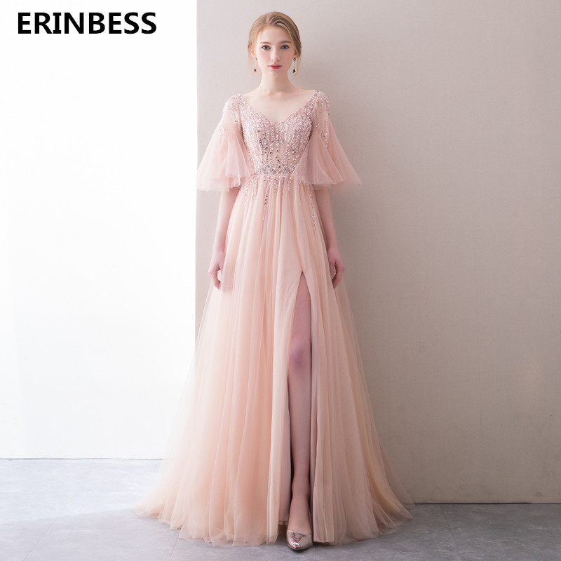 Hot Selling V-Neck Beading   Evening     Dresses   Long Party Prom Gowns 2019 Vestido De Festa Half Sleeve Pink A-line   Evening     Dress