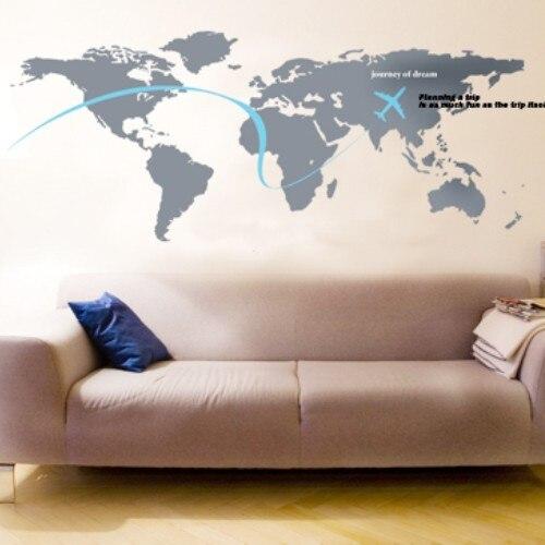 Livraison gratuite carte du monde-stickers muraux décoration pour la maison bricolage stickers muraux