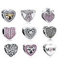 European 925 Sterling Silver Love Hearts Beads Crystal MOM BOW KNOT Charms Fit Pandora Bracelet Necklace DIY Fashion Jewelry
