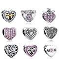 Europeu 925 Sterling Silver Love Hearts Beads MÃE de Cristal ARCO NÓ Encantos Fit Pandora Colar Pulseira DIY Moda Jóias