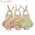 La muchacha caliente del verano de la impresión del globo del mameluco de los mamelucos Ruffle ropa bebé burbuja de algodón de una pieza para niños edad 0-4Y