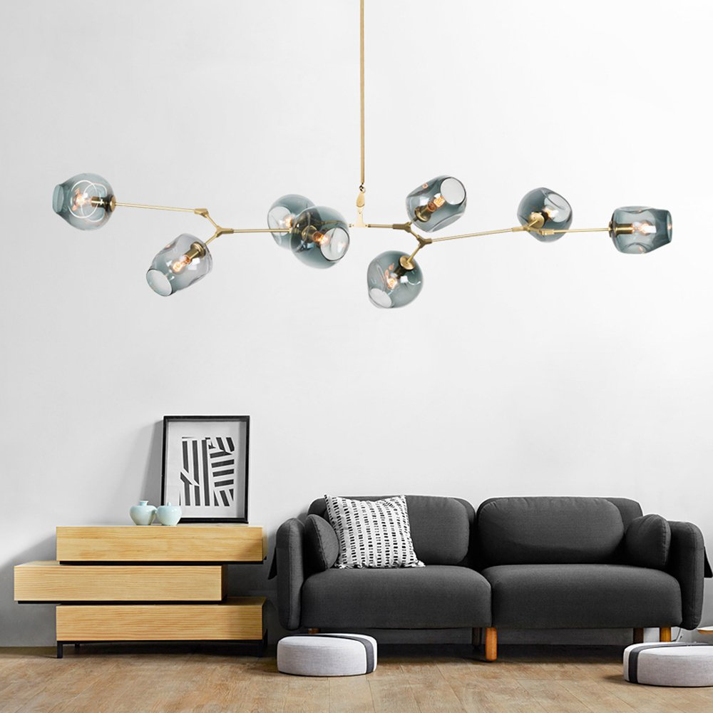 Nordic Magic Bean Living Room Ceiling Lamp Loft Painted Metal arms bar Counter Dining Room Glass Ceiling Lighting Fixtures
