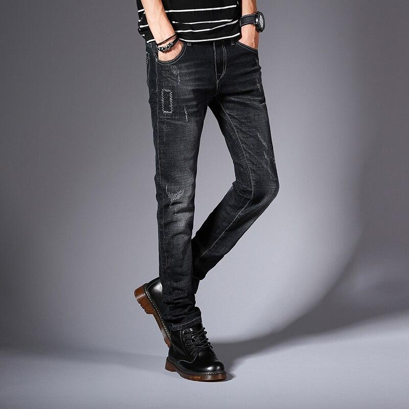 الشتاء الخريف نحيل الجينز الرجال مصمم - ملابس رجالية