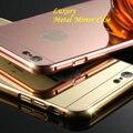 2016 Moda de Luxo de Metal de Alumínio + Acrílico Espelho Cromagem Quadro de Volta capa case para iphone 7 6 6 s plus 5 5S se