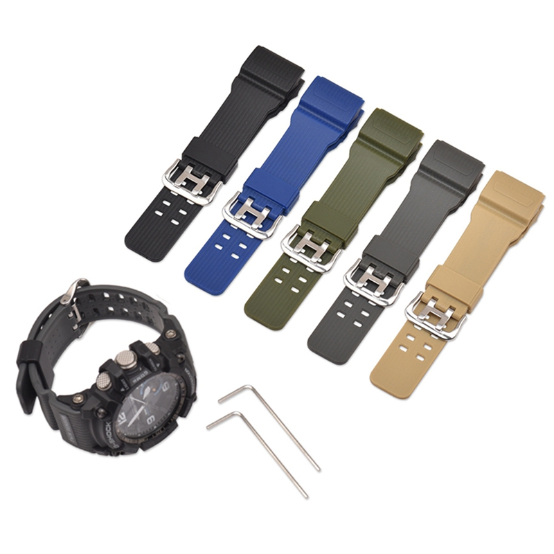 Watch Band Strap With Spanner/Allen Key Pin Buckled Resin Wristwatch Bands For Casio GG-1000/GWG-100/GSG-100 image