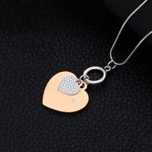 Women Necklace Rhinestone Crystal Double Gold Hearts Pendant Trendy Statement Necklaces & Pendants Collares Largos De Moda 2019 trendy double hearts letters alloy pendant necklace for women