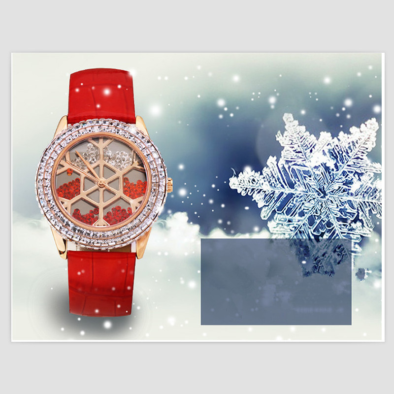 Melissa Lovely Snowflake Watches for Women Luxury Rhinestone Dress Wristwatch Moving Crystal Sands Leather Watch Xmas Gift Reloj