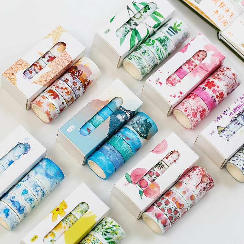 5 Rolls/Box Lavender Sakura Themed Decorative Washi Tape DIY Self Adhesive Scrapbooking Masking Tape For Kids Gift Free Shipping