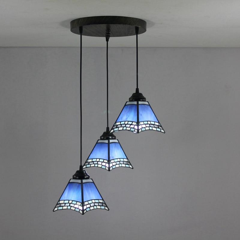 Mediterranean Blue 3 heads Stained glass modern square Restaurant Pendant Lights 110-240V Dia43CM bar Three pandant lamps E27