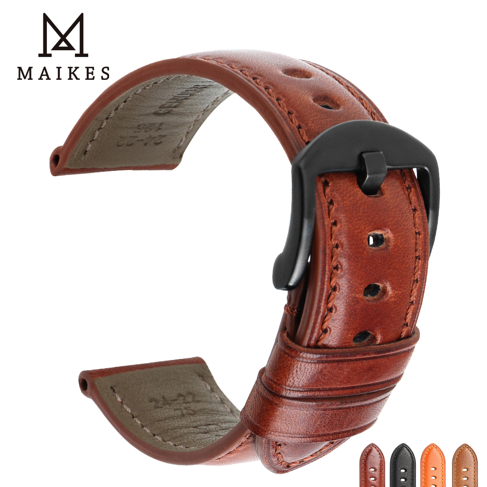 MAIKES 20mm 22mm 24mm Watch Strap Watch Band Genuine Calf Bright Leather Watch Accessories Stainless Steel Buckle Watchband