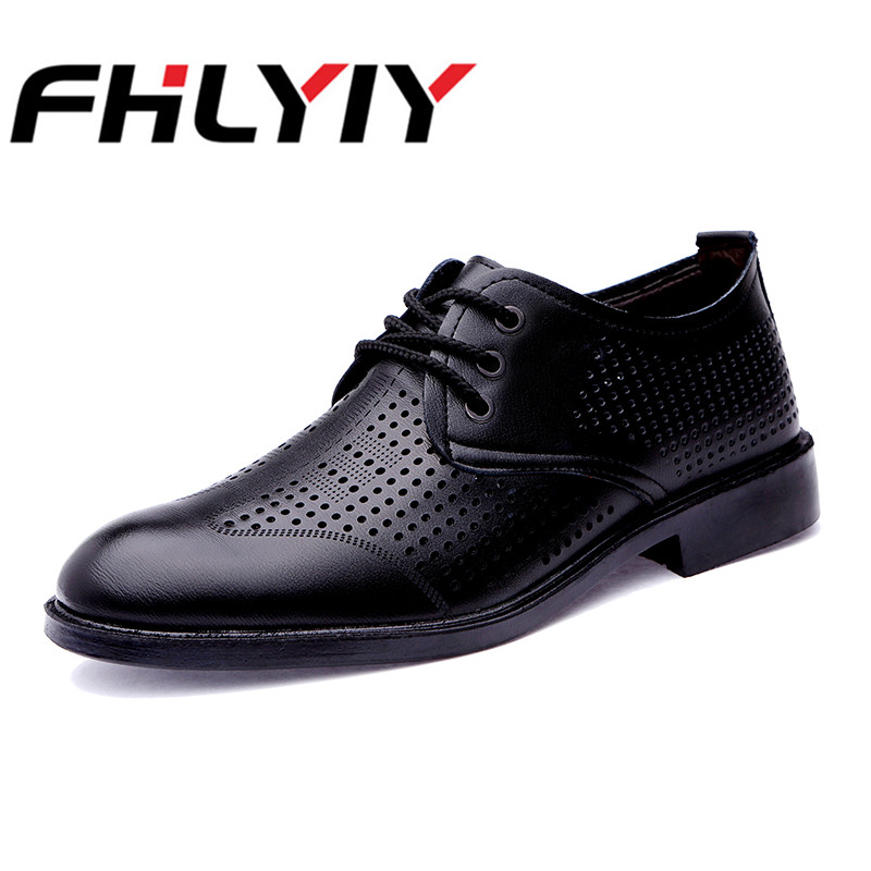 Men Black Hollow Leather Breathable Shoes Summer Lace Up Business Wedding Office Male Hot Sale Round Toe Dress Shoes Pure Color hot sale mens genuine leather cow lace up male formal shoes dress shoes pointed toe footwear multi color plus size 37 44 yellow