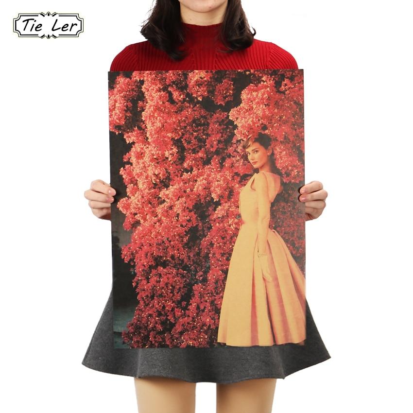 TIE LER Audrey Hepburn Vintage Romantic Flowers Background Nostalgic Kraft Paper Wall Stickers Adornment Movie Posters