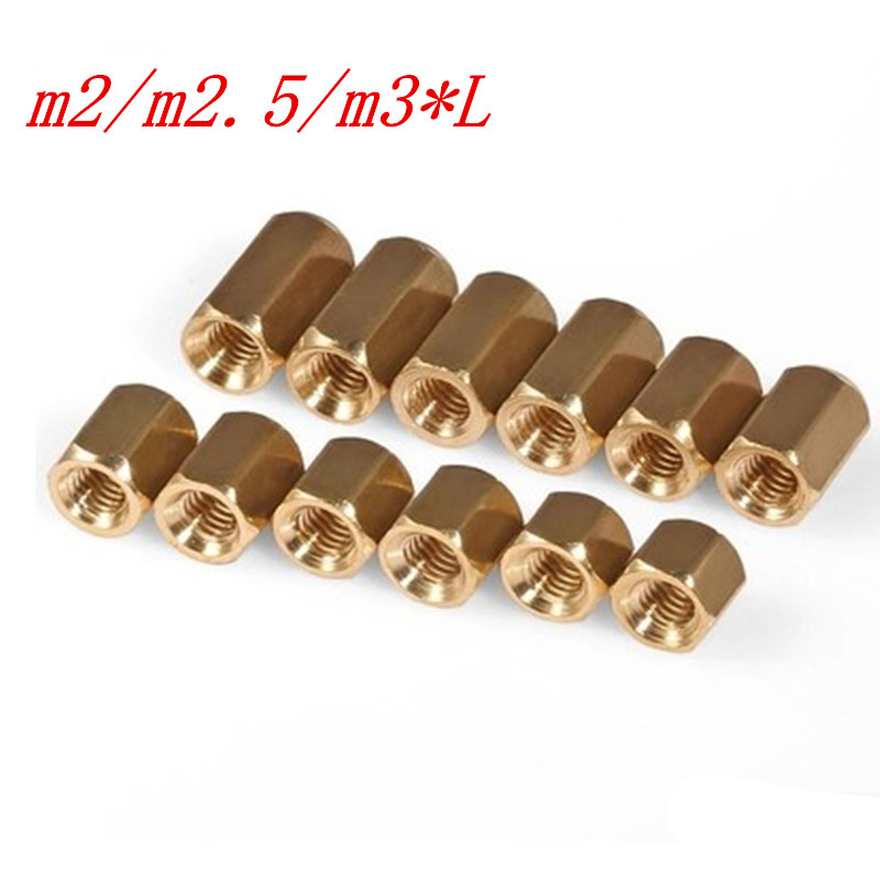 50Pcs/lot M2/M2.5/M3*L Female female Hex head Brass Spacing Screws Threaded Pillar PCB Computer PC Motherboard StandOff Spacer 100pcs lot m3 l 6 brass standoff spacer female male spacing screws nickel plated brass threaded spacer hex spacer bssfmnp m3