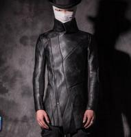 S 2XL!!Male fashion winter leather motorcycle clothing slim personalized thermal plus velvet outerwear costume
