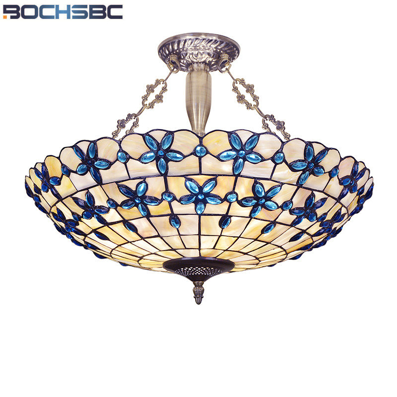 BOCHSBC European Blue Hanging LED Bulb Lamp Lilac Shell Pendant Lights for Bedroom Living Room Dining Room Pendant Lamps Lampada