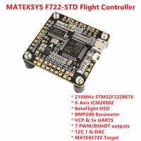 MATEKSYS F722-STD STM32F722 Flight Controller Betaflight OSD BMP280 Barometer 7 PWM/DSHOT Outputs BlackBox MicroSD for RC Drones
