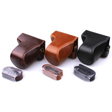 high quality Black Coffee Brown Oil Skin PU Leather Video Camera Bag Case Cover Pouch with Shoulder Strap for Canon EOSM