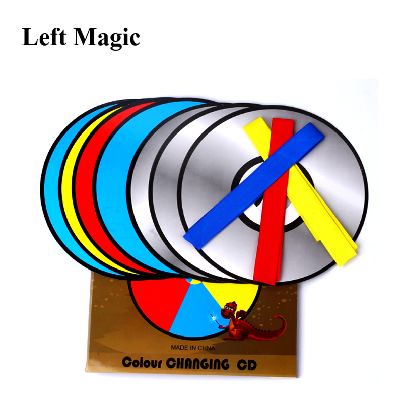 Color Changing Laser CD Magic Tricks Paper Bag Color Changing Magic CD Magic Props Stage Gimmick Illusion Accessories