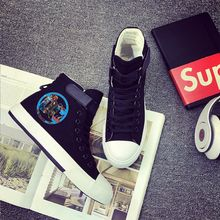 Justice League Superman Batman Cool Cartoon Printing Canvas Shoes High-top Shoes Flat Casual Men's Shoes Fashion Students shoes printing justice league hero cool cartoon logo high top breathable canvas uppers sneakers student personali fashion casual shoes