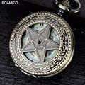 FOB мужчины карманные часы старинные механические часы BOAMIGO скелет роман количество часы медь звезда дизайн часы reloj hombre