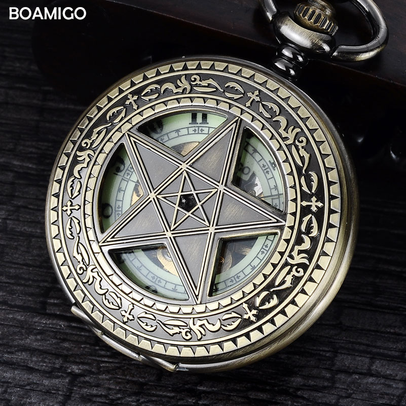 FOB men pocket watches antique mechanical watches BOAMIGO skeleton roman number watches copper star design clock reloj hombre automatic mechanical pocket watches vintage transparent skeleton open face design fob watch pocket chain male reloj de bolso