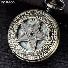 Homens fob relógios de bolso antigo relógios mecânicos esqueleto boamigo número romano relógios de cobre projeto da estrela relógio reloj hombre