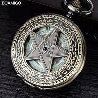 Fob người đàn ông pocket đồng hồ antique đồng hồ cơ khí boamigo skeleton roman số đồng hồ copper sao thiết kế đồng hồ reloj hombre