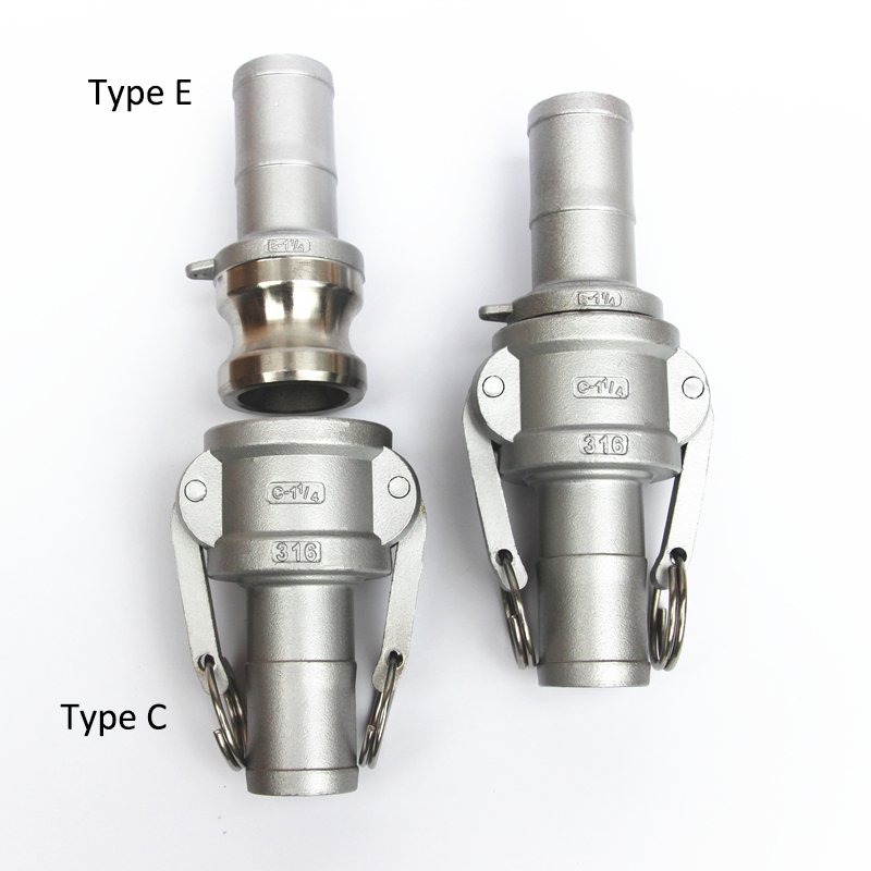 "1/2"" to 1"" 304 Stianless Steel Camlock Coupling Type C + Male Adapter Type E with Hosetail Shank Fitting"