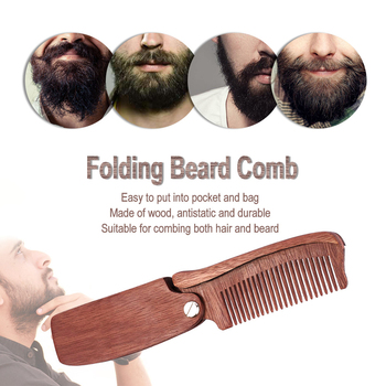 Multifunctional Beard Comb Hair Comb Brush Hairbrush for Men & Women Wood Folding Anti-static Moustache & Beard Comb Tools