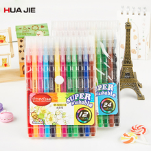 лучшая цена Children Washable Painting Graffiti Pen 12/24 Colors Water-color Pen Magic Refillable Water Brush Ink Pen Art Marker Pen ST-1233