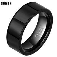 8mm czarny ukośnymi krawędziami tungsten carbide pierścień wedding band polerowanej comfort fit płaskie cięcia rur