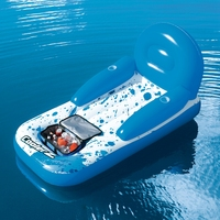 91'' Inflatable Lazy Cooler Lounge Chair With Backrest 2 Cup Holders Swimming Pool Float Bed Water Toys Pool Fun Raft