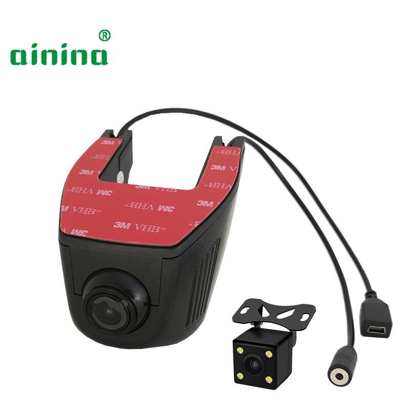 Ainina WiFi Dual lens carro câmera escondida dvr HD wi-fi dashcam com câmera traseira, dois lente wi-fi câmera do carro gravador