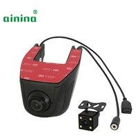Ainina WiFi Dual lens hidden car dvr camera HD wifi dashcam with rear camera , two lens wifi car camera recorder