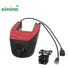 Ainina WiFi doble lente oculta coche dvr cámara HD wifi dashcam con cámara trasera, dos lentes wifi cámara de coche