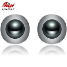 New arrival Pearl Stud Earrings, 7-8mm Black Freshwater Pearls,100% 925 Sterling Silver Earrings For Womens