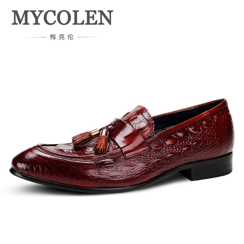 MYCOLEN Men's Casual Genuine Leather With Crocodile Skin Men's Slip-On Loafers Men Dress Shoes Mens Fashion Tassel Moccasins mycolen mens loafers genuine leather italian luxury crocodile pattern autumn shoes men slip on casual business shoes for male