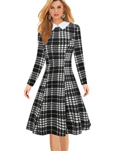 S-5XL vintage women peter pan collar full sleeve long plaid dress retro elegant spring work office formal brand plus size