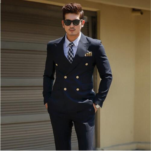 Custom Slim Fit Black Double Breasted Korean Suit Gentleman Suit Business Groom Wedding Suit For Men Costume Homme Mariage 2pcs