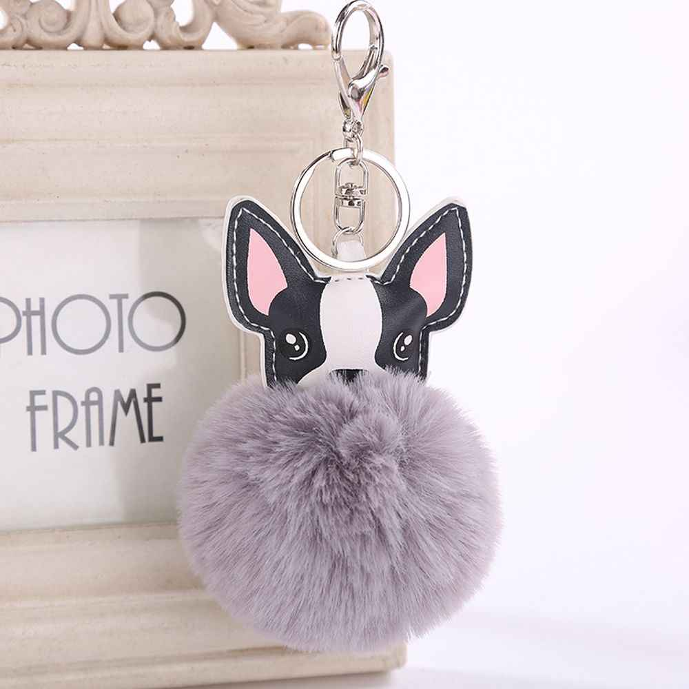 1 PC Fluffy Cão Bonito Bolsa Decoração Das Mulheres Meninas Bolsa Pendente Mochila de Pele de Coelho Artificial Pingente de Moda de Nova