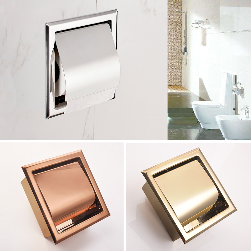 Recessed Toilet Paper Support 304 Stainless Steel Gold Toilet Paper Holder Wall Roll Holders Tissue Box Cover Toilet Roll Holder 304 stainless steel tape paper carton waterproof paper towel box toilet roll holder hand hand carton carton